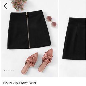 solid zip front skirt